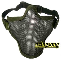 Half Face Metal Mesh green Protective Mask Airsoft Paintball Resistant Skull / free shipping