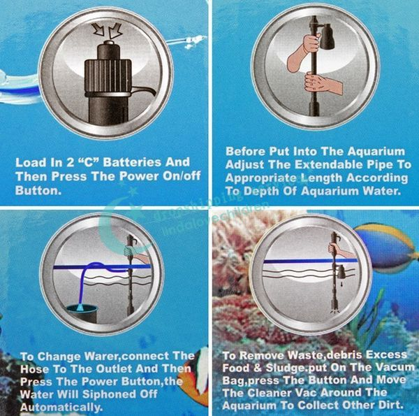 Aquarium Battery Syphon Auto Fish Tank Vacuum Gravel Water Filter Cleaner Washer Hot Drop Shipping/Free Shipping Wholesale
