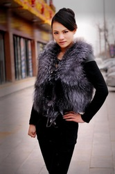 Free Shipping by EMS Natural Woman Fox Fur vest(China (Mainland))