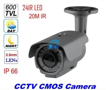 "CCTV Security 600TVL 1/3"" CMOS 24leds IR20M with IR-CUT Outdoor Waterproof Bullet Camera Black  free shipping china post"