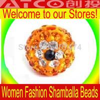 Wholesale New free shipping, New Shamballa Beads Micro Pave CZ Disco Ball 10mm crystal beads Shambhala beads Yellow