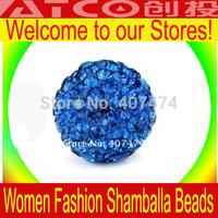 50pcs/lot Blue Shamballa Beads High Qulity Shambhala  Bracelet CZ beads crystal,Siam Color 10mm Disco crystal ball beads