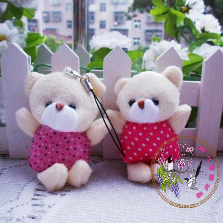 6cm Plush Pendant Bear With Clothes For Car Key/Phone/Bag/Jewelry Pendant Toys/Dolls For Christmas Gifts Wholesale 50pcs/Lot(China (Mainland))
