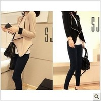 Free shipping/2014 women fashion patchwork  long-sleeve pads loose short design outerwear,22W006