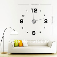 DIY Large Frameless Wall Clock Modern Home Decor 3D Numbers Stickers Adhesive  Wallpaper Living Room Decoration 12S005 Free Post
