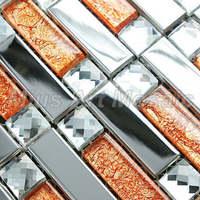 [Mius Art Mosaic] Strip Silver stainless steel mixed orange glass mosaic tile for kitchen backsplash A47614
