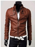 free shipping zipper embellished buttons slim-fitting leather coat brown winter coat for man MZ11083002-1