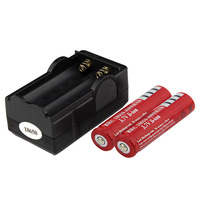2 * 18650 3.7V 3000mAh Rechargeable li-ion Battery + 1 * Travel Charger , Free Shipping