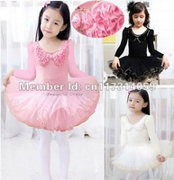 Retail-New Style- Free Shipping -Girls Long Sleeve Dance Dress Leotard Ballet Tutu Skate Party Show Skirt SZ3-8Y 3 Color Choose