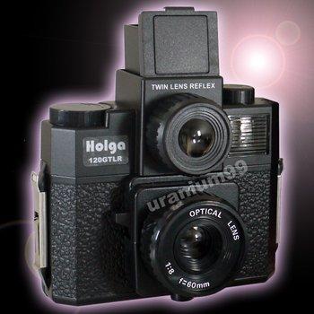 Holga 120 GTLR 4 color splash flash Twin Lens system Lomo Camera ( Black )