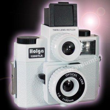 Holga 120 GTLR 4 color splash flash Twin Lens system Lomo Camera ( White )