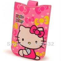 Free shipping, Hello Kitty Pouch mobile phone Cartoon cell phone case PU leather phone case, 20pcs/lot , Mix order