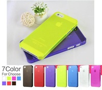 7 Colors/Lot Ultrathin Design 0.5mm Matt Frosting Skins Cases Covers For iPhone 5 5G Cell Phone Accessories PC007-5