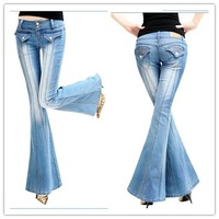 Special Design Embroidery Pockets Blue Jean Low Waist Boot Cut Plus Size Women Jean Pants ABC