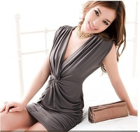 Mini order USD15,2012  Two wear Sexy Snarling Flagging Stylish Deep V-neck Mini Dress