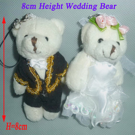 H=8cm New Cartoon Lover Bear Bride&Groom Plush Pendants Toys For Key/Phone/Bag/ Christmas Gifts Wholesale 25pair/Lot(China (Mainland))