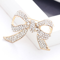 Han edition fashion boutique set auger crystal golden bowknot rhinestone crystal brooch