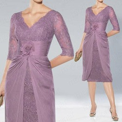 Purple V-neck Lace Hand Flower above knee length Empire Mother of the bride/groom Dresses Bolero Evening Formal Dress gown LF075(China (Mainland))