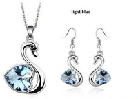 Free Shipping Gorgeous White Gold Plated Swan Necklace/Earrings, Make With AU Cryatal ,Crystal Set R006&K065