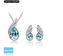 Free Shipping Fashion Jewelry Set Wholesale China White Gold Plated Crystal Rhinestone Necklace Earrings Set K189&RO72(China (Mainland))