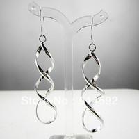 1 Pair Charm Women Shiny 925 Sterling Silver Spiral Drop Dangle Earrings