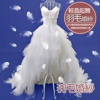 Princess bride low-high feather train wedding dress 2012 winter maternity 7003/party dress/evening dress