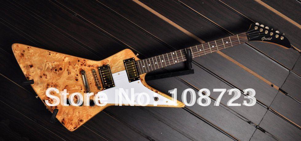 Wholesale - New Explorer Custom Shop 50th Anniversary Korina Electric Guitar With Birds-Eye Maple Top(China (Mainland))