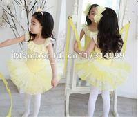 Retail-New Style- Free Shipping -Girls Dance Dress Leotard Ballet Tutu Skate Party Show Skirt SZ6-12Y Yellow