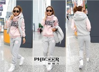 2014 Time-limited New Arrival Freeshipping Full Shipping!2012 Hoody Women Plus Size Sweatshirt Piece Set Thickening 100% Cotton