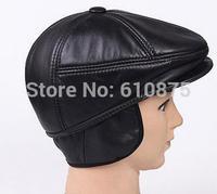 Male autumn winter plus size sheepskin hat semi-cirle forward cap winter thermal genuine leather thermal cap R96 A