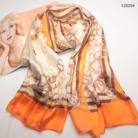 120262 180x110cm, 4 Colors Wholesale Ladies' fashion rectangle silk scarves, Chain Print scarf 100% SIlk scarf Free Shipping