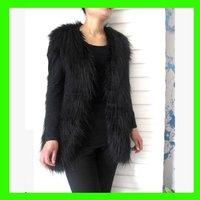 2013 New Style Winter/Autumn Long Black/White Women's Fur Vest Faux Fur Vest  Women's Coat/Outwear Retail/Hot Sale