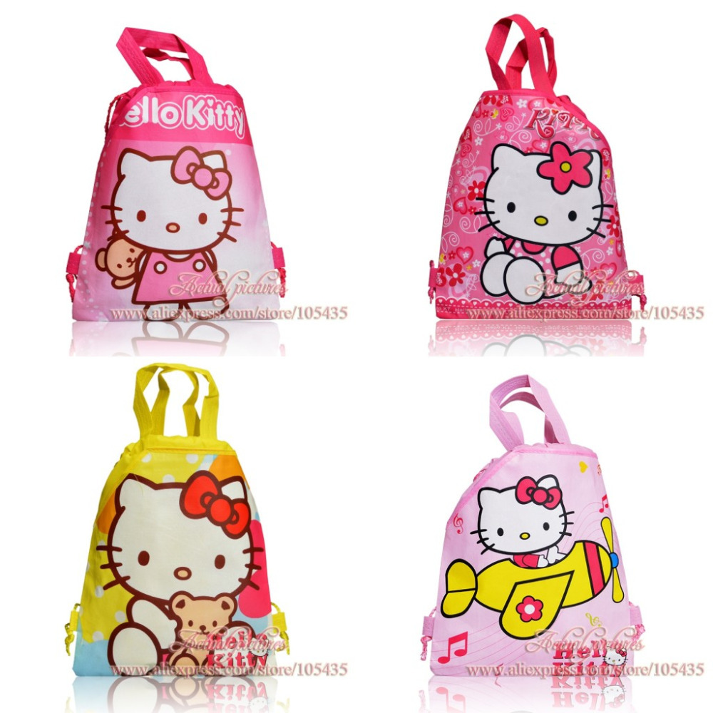 12Pcs Hello Kitty Cartoon Drawstring Backpack Bag Non-woven Material School Bag Christmas Gift 34X27CM(China (Mainland))