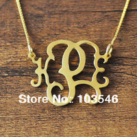 Gold plated Monogram necklace 2 hooks