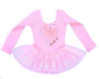 Retail- Free Shipping Girls Dance Dress Long Sleeve Leotard Ballet Tutu Skate Party Show Skirt 3-8Y Piunk Heart  Choose Size