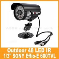 black CCTV camera, 1/3 sony IR Color 600TVL 48LED  Security  Video Camera waterproof (OSD Optional, Free Shipping)