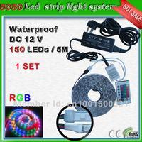 surface mount led strip led 5 meter 30 leds/m_ free shipping waterproof SMD 5050 150 leds RGB led ribbon lighting system+adapter