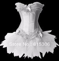 Freeshipping Women White Long Bone Satin Lacy Corset Tutu Dress