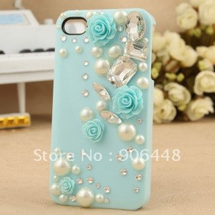 Ice Cream Case Handmade Cell Phone Case For iPhone5/4S/4 with Bling Crystal Rhinestone and Pearl and Flower_1PCS
