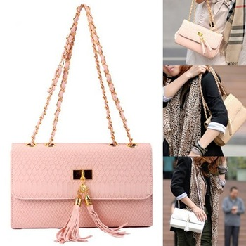 Fashion Women PU Leather  Tassel Chain Handbag/ Tote Shoulder Bag/ Purse/ Small Cross Body bag /4Colors