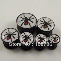 60pcs Free Shipping 6sizes Cool Spider Logo Ear Plug,Acrylic Animal Ear Expander Flesh Tunnel Piercing Body Jewelry