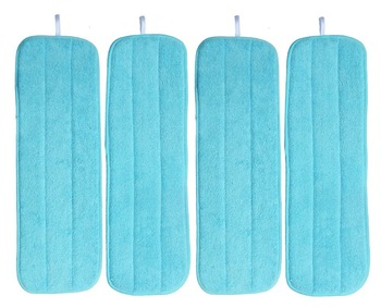 """4pcs 5""""x14""""  13cmx36cm  30g Dusting & Cleaning Microfiber Mop Pads Replacement w/ Velcro Mops Refill"""