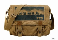 Mens Canvas messenger shoulder bag Laptop duffle Schoolbag Casual Hiking Military khaki BA102