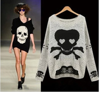 Fashion Skeleton Printed Sweaters Women's Asymmetric Knitted Pullovers Casual Knitwear Loose Style SW-012
