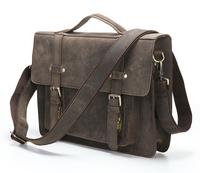 JMD Crazy horse leather men messenger bags men's Briefcase vintage business men travel bags business tote laptop 205 new man bag