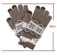 Hot Sale Fashion lady wool Winter thermal touch screen Gloves  For Ipad Free Shipping