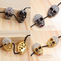 Wholesales Lots mix colors 2.1*1.5 cm Alloy Rhinestone skull charms for  bracelets spacer 2012 new arrival jewelry findings