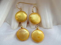 Gift - natural gold freshwater pearl earring 14k goldclad hook