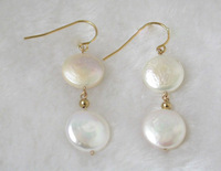 Gift - natural white freshwater pearl earring 14k goldclad hook
