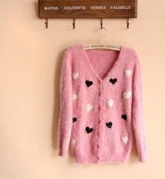 free shipping fashion casual women long sleeve plush sweater cardigans love heart design pink blue